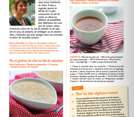 Chronique cuisine sur les laits végétaux dans Bio info Avril